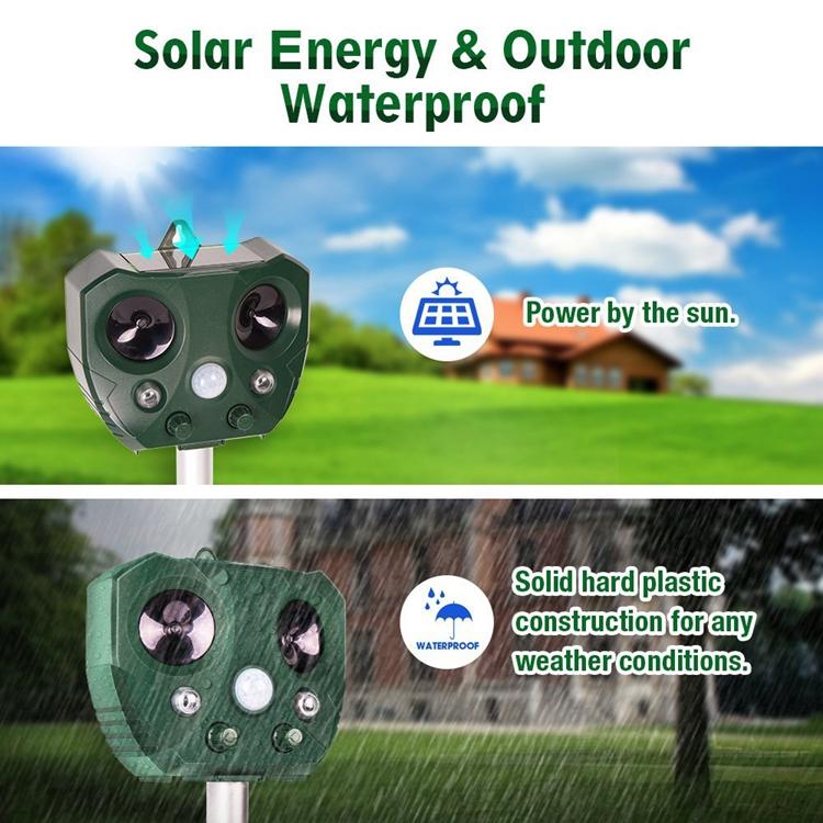 Solar Ultrasonic Animal Repeller Outdoor Waterproof Pest Repeller Snake Cat Dog Bird foxes Dispeller Repellent Keep Animals Away