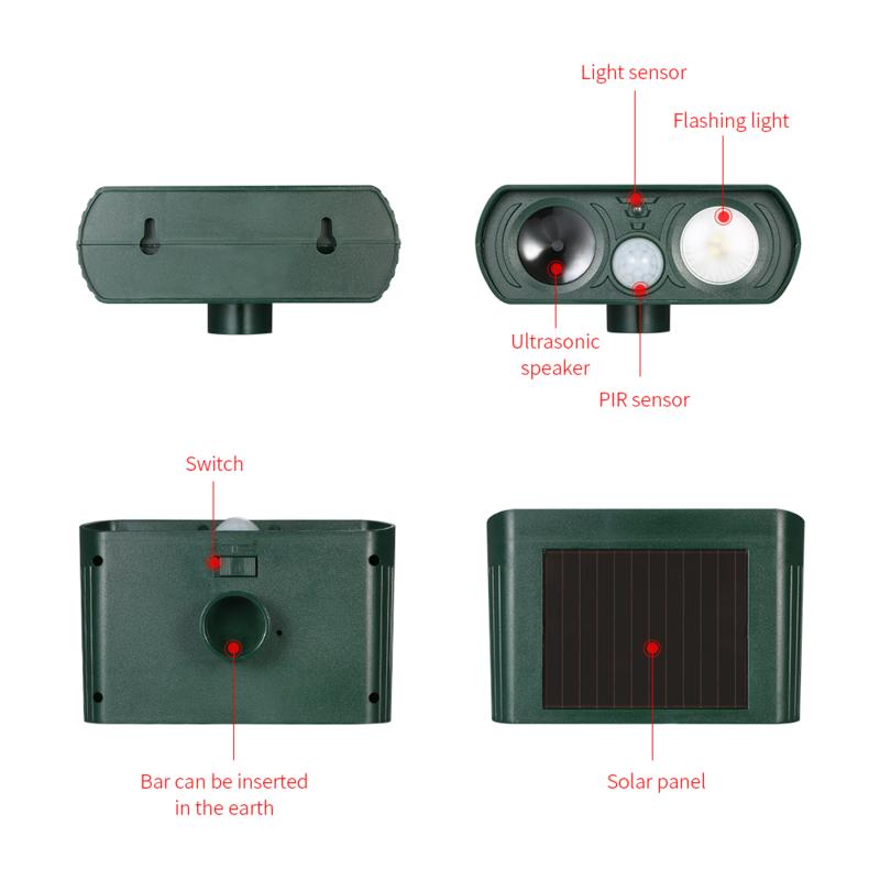 Solar Animal Drive Outdoor Ultrasonic Infrared Light Flash Drive Dog And Cat Ultrasonic Multi-Function Bird Repeller